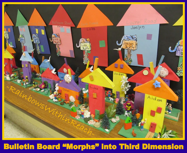 photo of: Bulletin Board of Preschool Homes Morphs into Third Dimension of House Sculptures (from Bulletin Board RoundUP via RainbowsWithinReach)