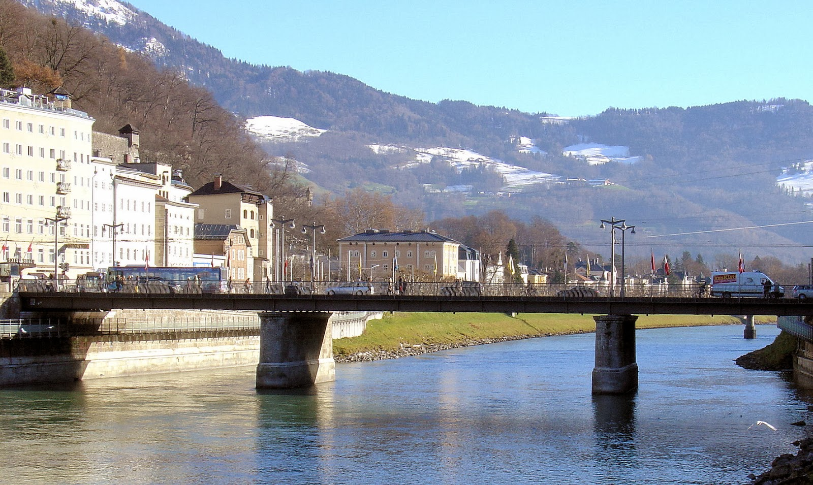 The 'Staatsbrücke' or Public Bridge to our left as we crossed the Salzach River is the 10th bridge to stand at this location and was completed by forced Nazi slave labor from Eastern Europe beginning in from 1939 through the WWII.