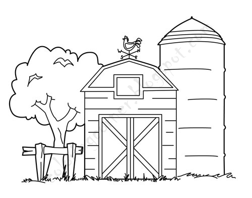 barn coloring pages for kids - photo#12