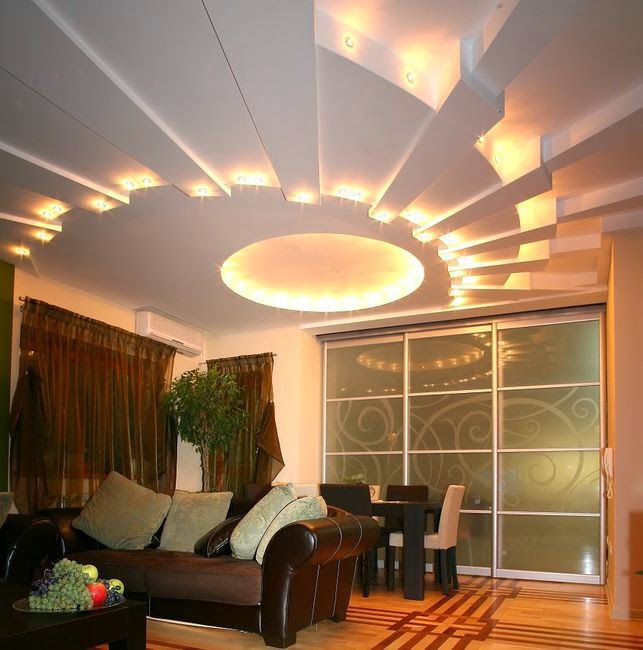 modern false ceiling design of gypsum board with creative lighting system