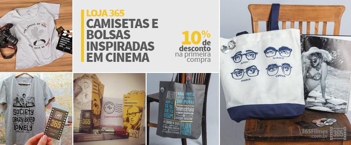 banner da loja 365 filmes com imagens de camisetas e bolsas inspiradas no cinema
