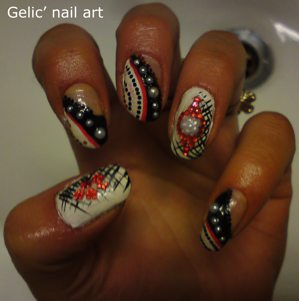 Gelic Nail Art Nail Art In Black White And Red
