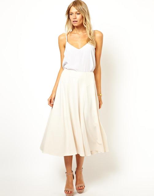 cream midi skirt