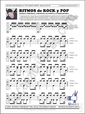Partitura de Batería fácil para tocar Redoble de Ritmos Rock y Pop con corcheas, negras, corcheas con punto y semicorchea Ejercicios del 20 al 24 Easy Sheet Music for Drums