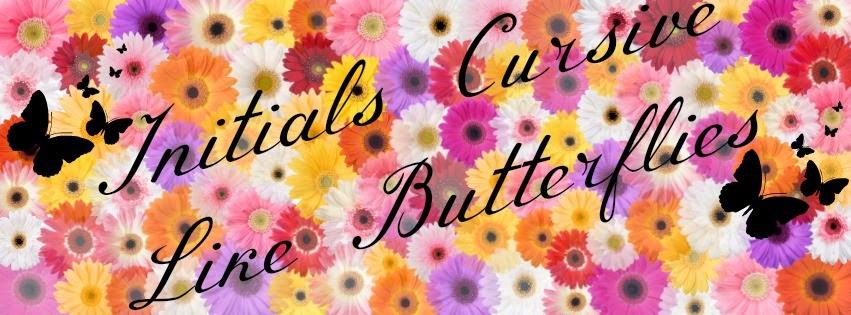 Initials Cursive Like Butterflies