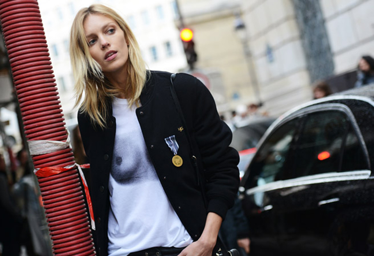 Anja Rubik street style, Paris fashion week by Tommy Ton, don't fear the nipple t-shirt, model off duty