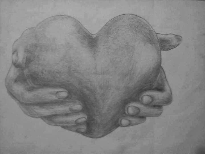 Karakalem Kalp çizimi Karakalem çizimkarakalem Resimlerikara