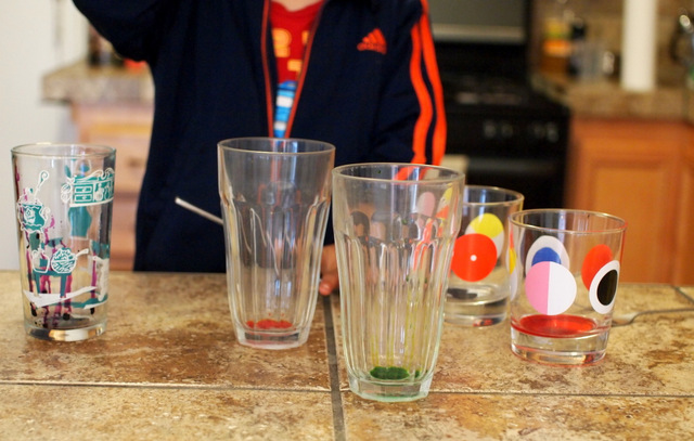 add food coloring to create water xylophone