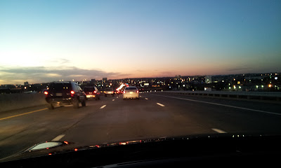 St. Louis, twilight drive, tired driving