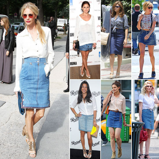 fashion style for how to style blue denim skirts