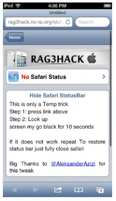 Hide the status bar of Safari