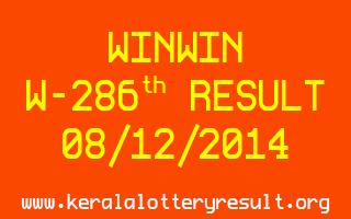 Winwin Lottery W-286 Result 08-12-2014