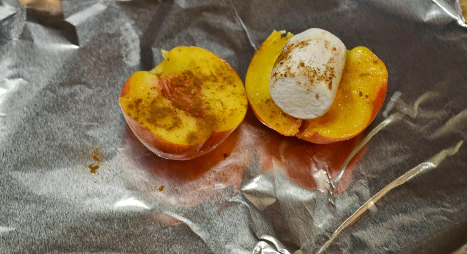 Campfire Peachies Recipe.  Roasting Peaches in campfire.  Roasted Peaches.  Peach S'mores.  Campfire Peaches.  Camping Recipes.  Peach dessert recipes.