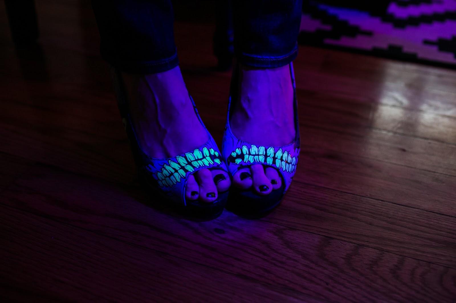monster heels, glow in the dark heels
