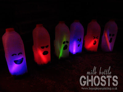 Milk Bottle Ghosts | The Purple Pumpkin Blog