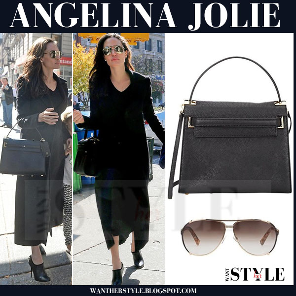 Angelina Jolie in black coat with black leather valentino bag what she wore streetstyle