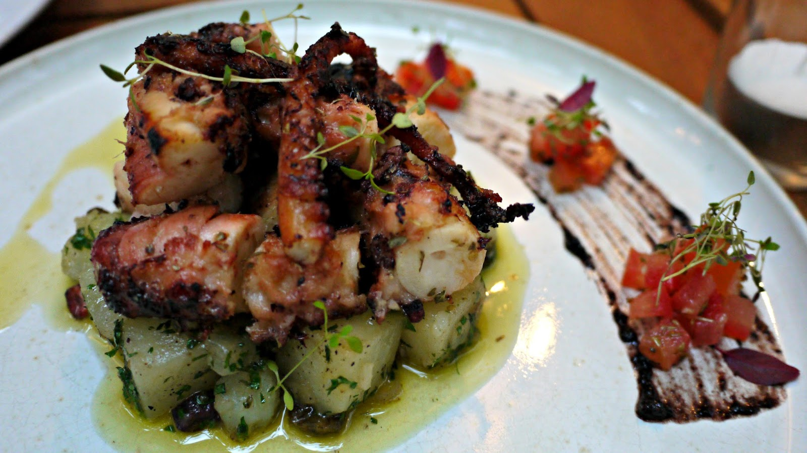 Mazi Grilled octopus and parsley potato salad