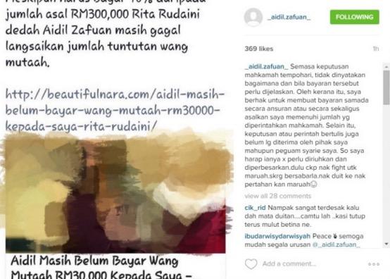 'Sehelai Spender Aku Pun Kau Tak Pernah Beli!' - Rita Gaduh Besar Dengan Aidil Di Instagram