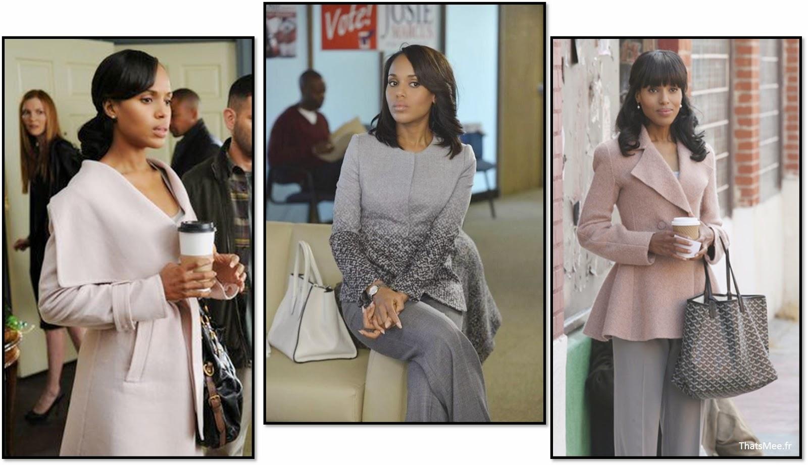 Manteau salvatore Ferragamo, sac shopping Goyard bleu Olivia Pope look outfit scandal serie Kerry Washington
