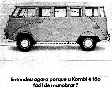 Propaganda da Volkswagen para o ano de 1969 que apresentava quão era grande e potente a Kombi.