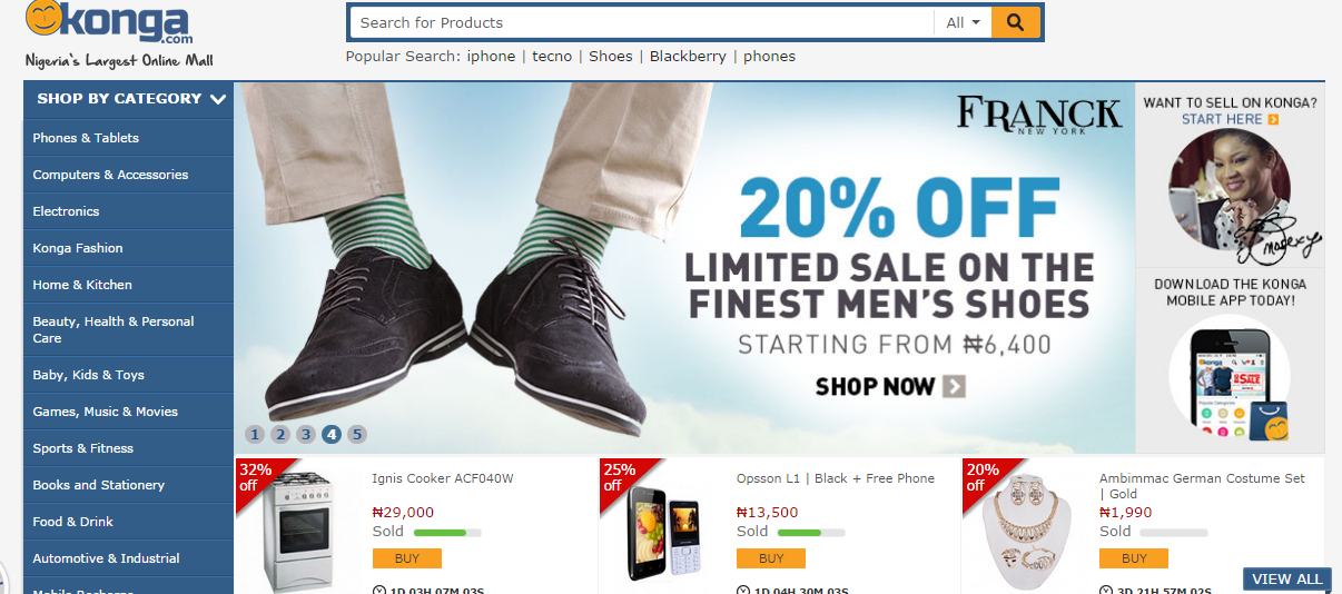 Konga nigeria online shopping deals and discount sites for Websites to shop online cheap