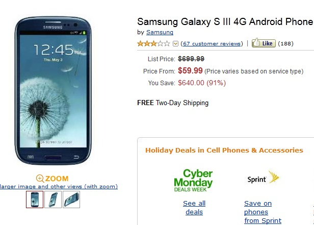 Samsung Galaxy S3 Verizon Cyber Monday Deals