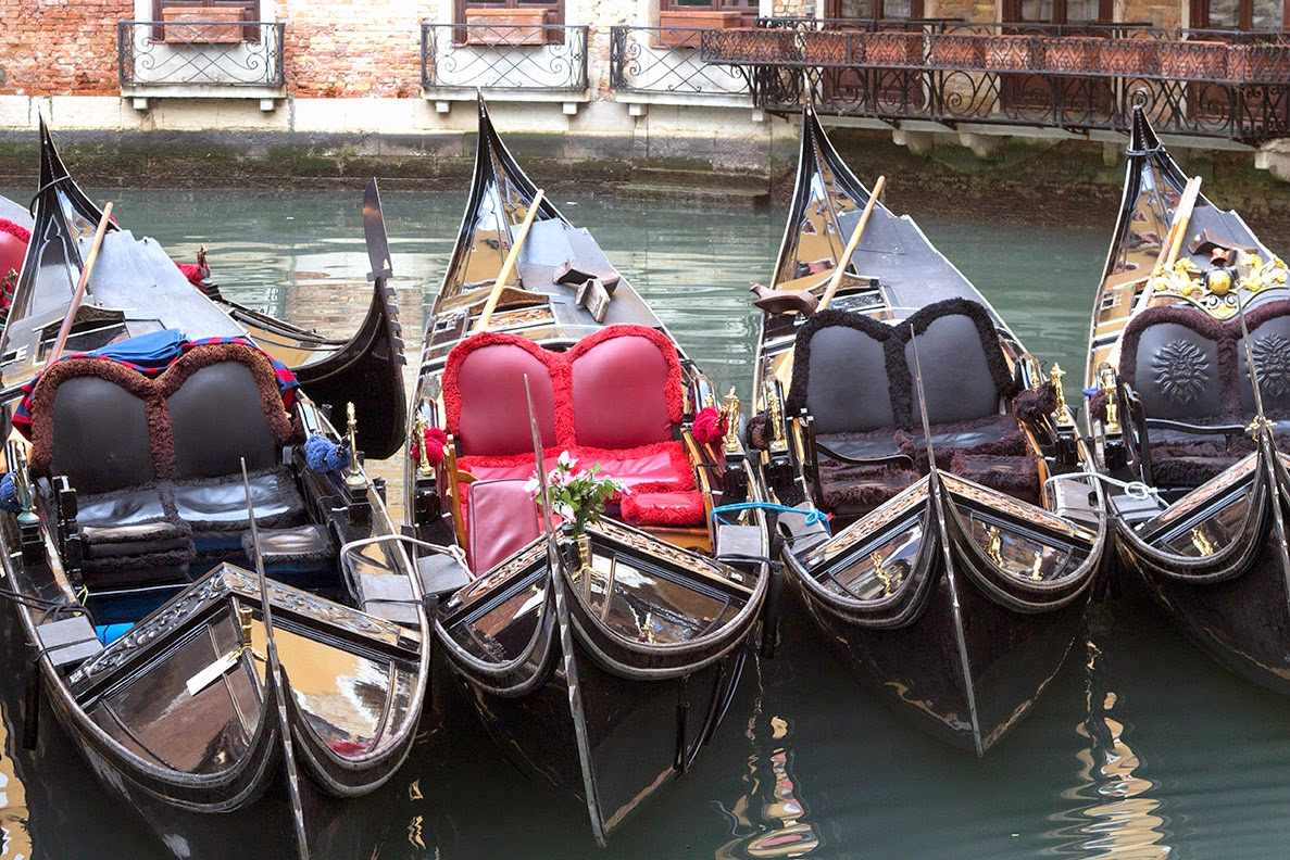 five moored gondolas