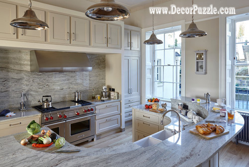 Marvelous River White Granite Countertops For Traditional Kitchen, White Granite  Worktops