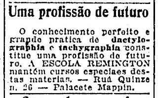Propaganda de 1918 em que apresentava a datilografia como profissão do futuro.