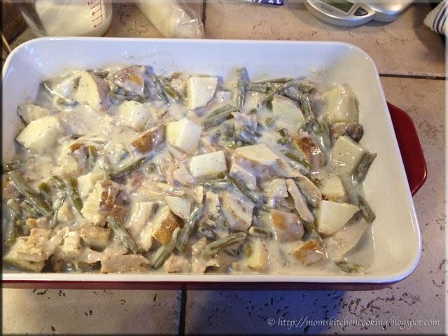 assembling the turkey bake