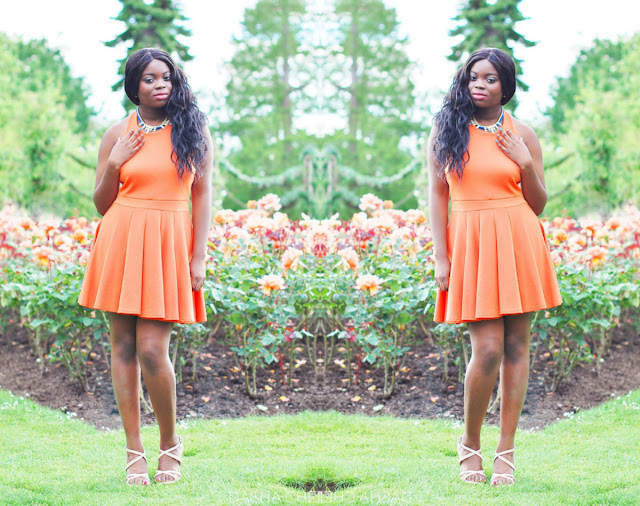 orange halterneck dress from boohoo