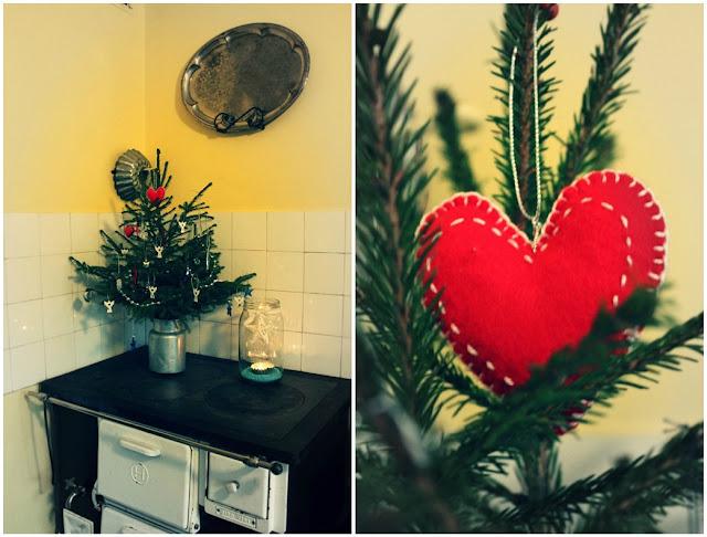 joulukuusi, joulu, puuhella, sydän, koristeet
