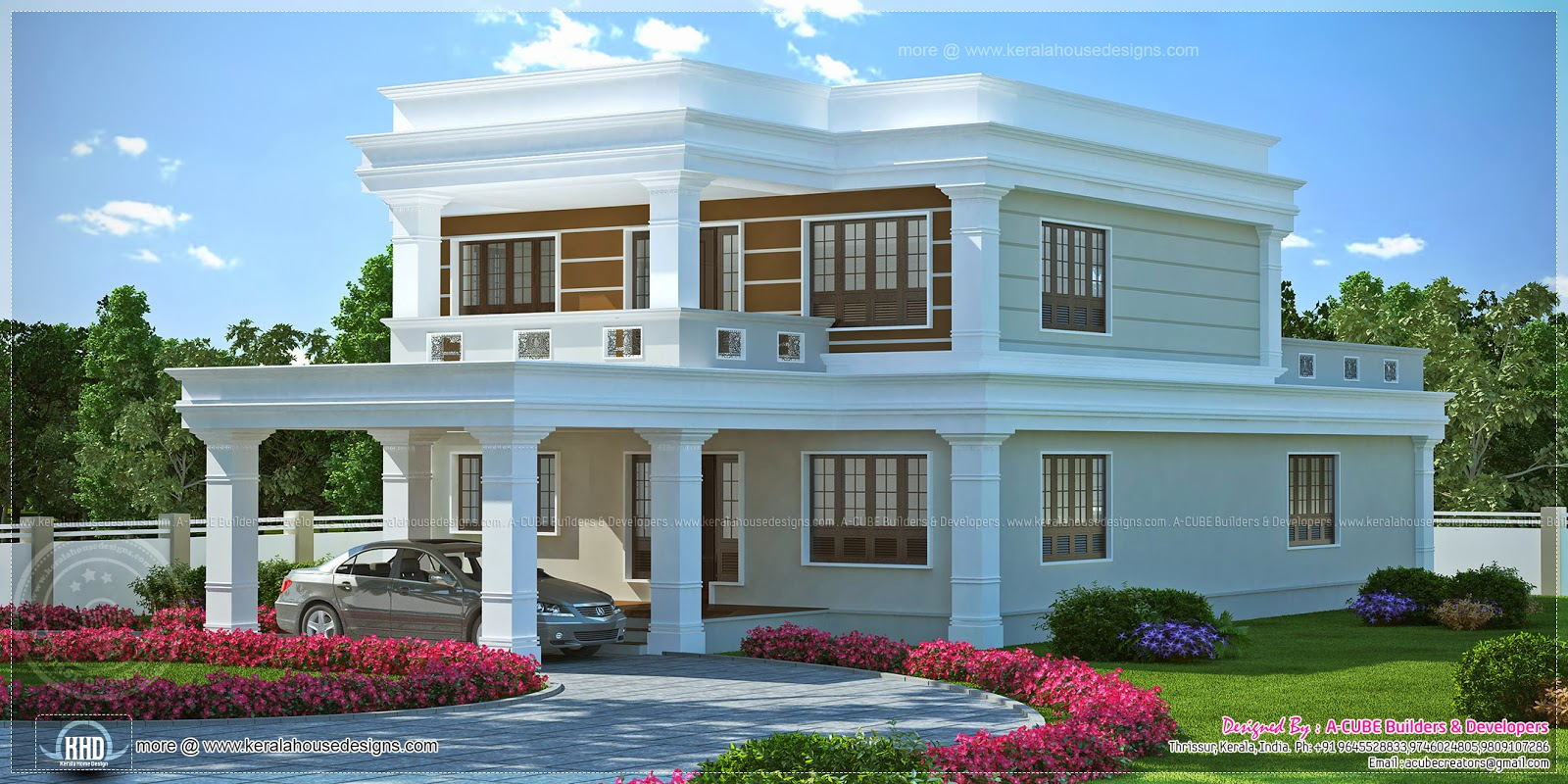 Flat roof 4 bedroom luxury home kerala home design and for Kerala home design flat roof elevation