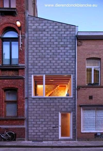Fachada de bloques de concreto desnudos en Bélgica 2010