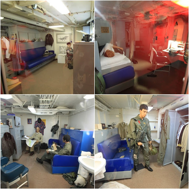 More spacious bedrooms for senior high ranking officers in the USS Midway Museum in San Diego, California, USA