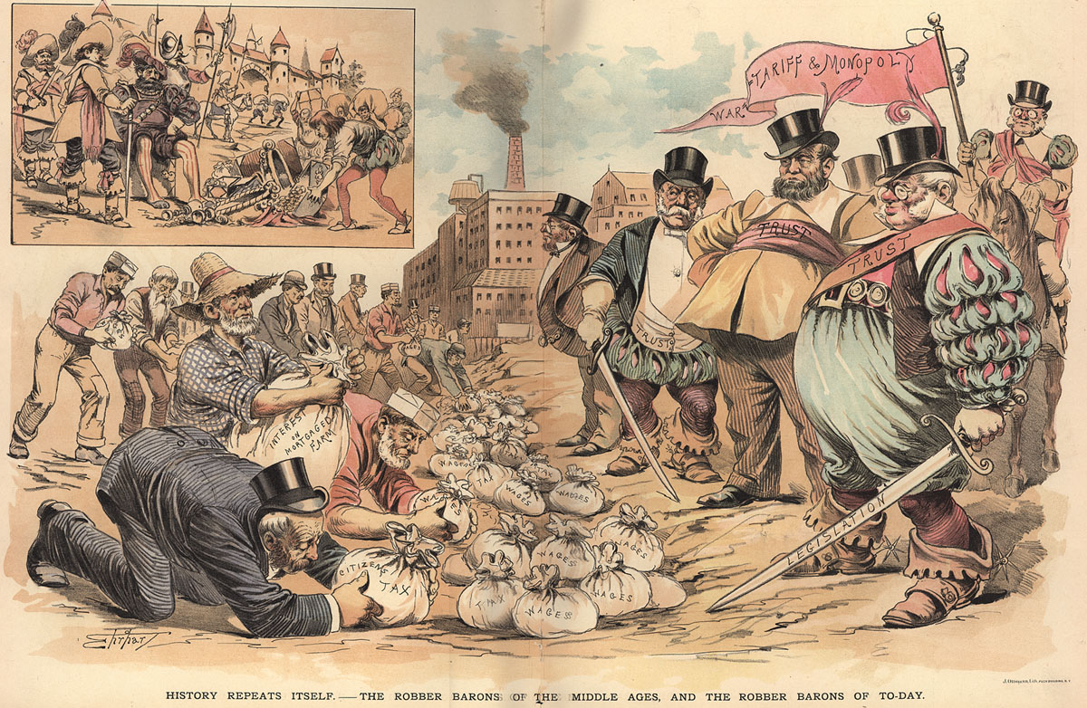 the american political system social darwinism and class history repeats itself the robber barons of the middle ages and the robber barons of today samuel erhardt puck circa 1889