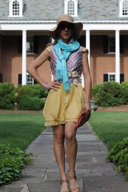 Pastel Eclectic, Everybody Everywear, the Queen City Style, BCBG Runway Collection, Banana Republic Clutch, Gap Hat, Belk pashmina, Finity vest, the Queen City Style