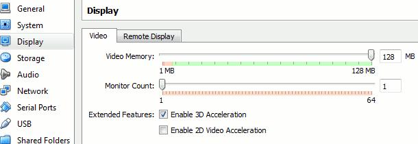 3D hardware acceleration enable setting on virtualbox