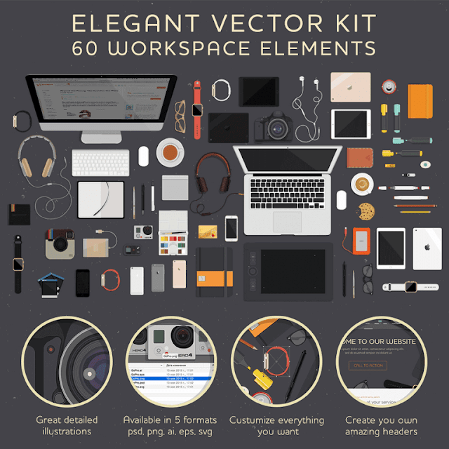 Free 60 Workspace Elements Vector Kit