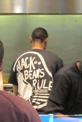 """Chipotle T-shirt """"black beans rule"""""""