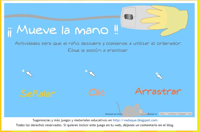 La imagen muestra una presentación de la aplicación con una mano y opciones para señalar, clicar y arrastrar