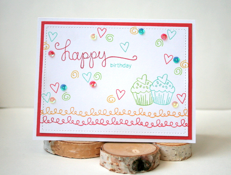 Happy Birthday Cupcake Card by Jess Moyer featuring Newton's Nook Love ala Carte and Simply Sentimental with My Style Sequins