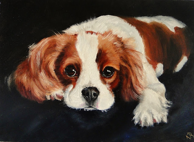 Oil painting of a cavalier king charles spaniel, a dog painting by Karen