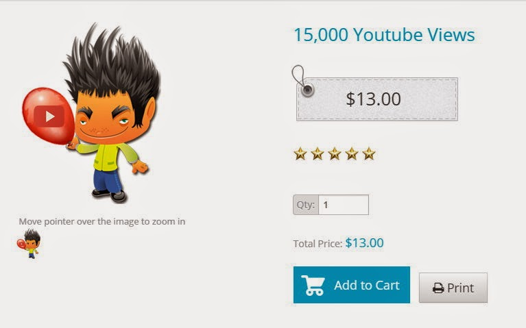 Advertisment for 15,000 You Tube views - $13