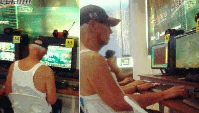 The viral photo of the 65-year-old man while playing DOTA.