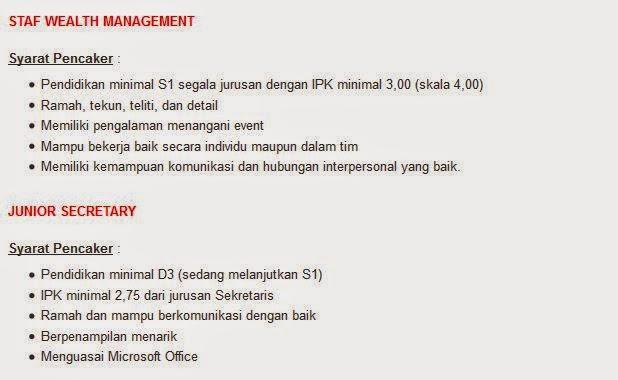 lowongan kerja jakarta pt bank bca terbaru september 2014