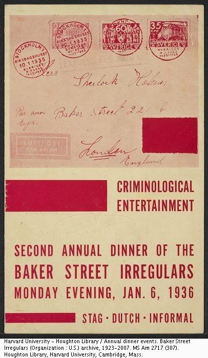 1936 BSI Dinner menu cover