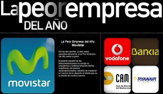 La peor empresa del año 2012 2013 Movistar Vodafone