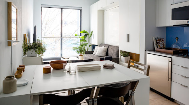 New York City micro apartment dining area