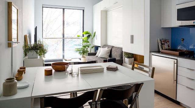 New York City micro apartment dining area